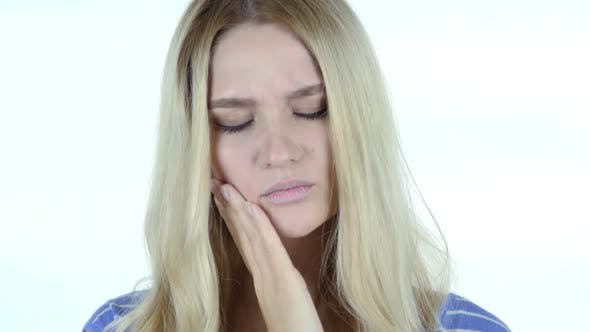 Thumbnail for Toothache , Woman Suffering from Pain In Teeth , White Background