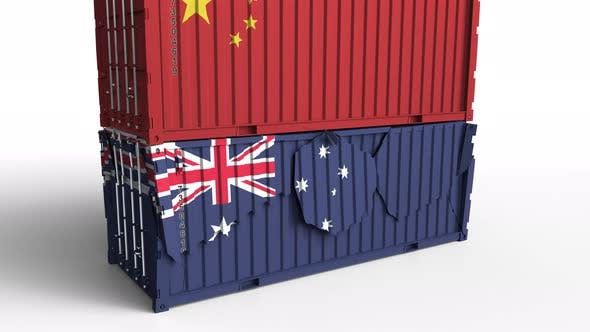 Thumbnail for Container with Flag of China Breaks Container with Flag of Australia