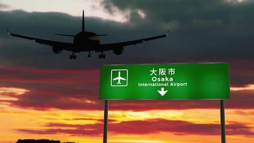 Plane landing in Osaka Japan airport
