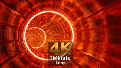 Circle Light Burning Tunnel 4K