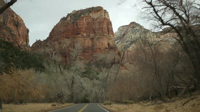 Road Trip Driving Auto in Zion Canyon Utah USA