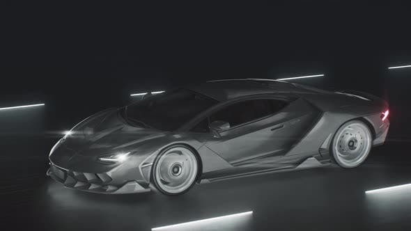 A Sports Car Drives at Speed on a Road with Neon Lights
