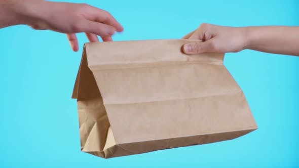 Thumbnail for Close Up Female Hold in Hand Brown Craft Paper Bag for Give Takeaway Isolated on Blue Background
