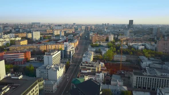 Thumbnail for Moscow Cityscape in the Morning, Aerial View