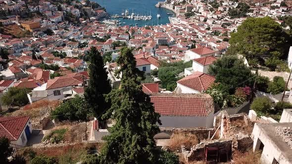 Thumbnail for Aerial View of Hydra Island and Marina. Greece in the Summer
