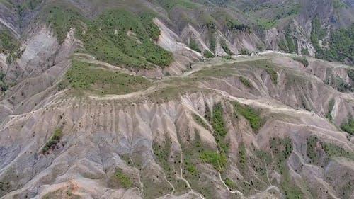 Erosion Erodierte Täler am Berg Hang
