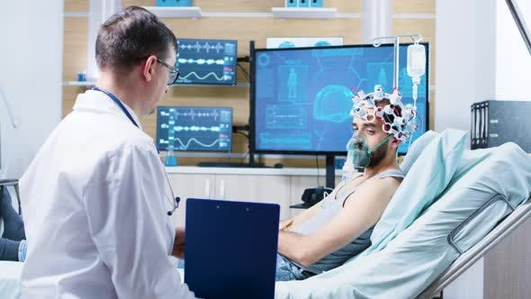 Patient in a Neurology Centre Wearing Brainwaves Scanning Headset