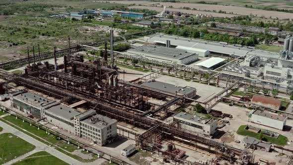 Thumbnail for Aerial Wide View Flying Over Oil Refinery or Chemical Factory. Industrial Zone