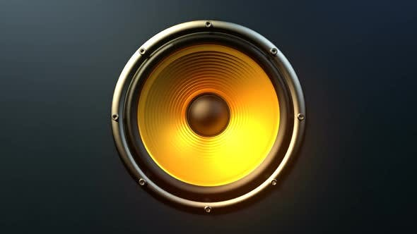 Cover Image for Single Audio Speaker with Orange Membrane Playing Modern Music Seamless Loop