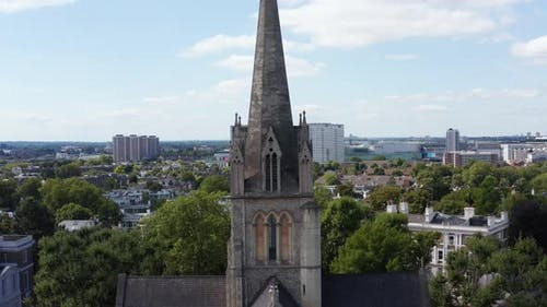Pull Back Footage of Church Spire