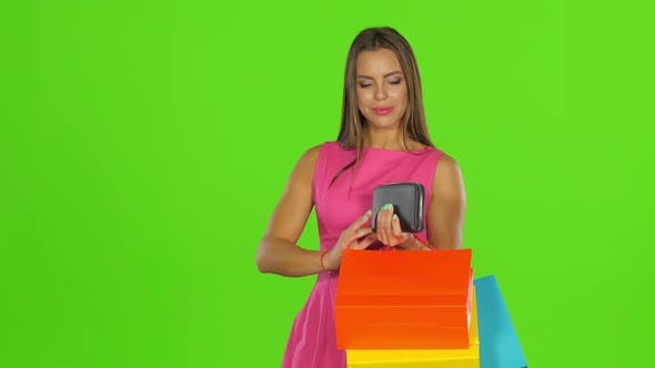 Thumbnail for Woman with Credit Card and Shopping Bags. Green Screen