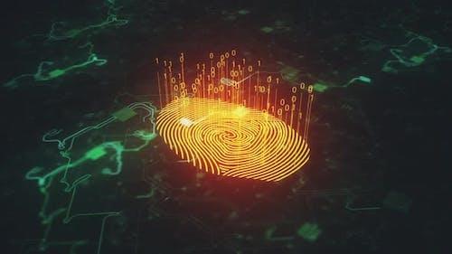 Statische Animation digitaler Fingerabdruck