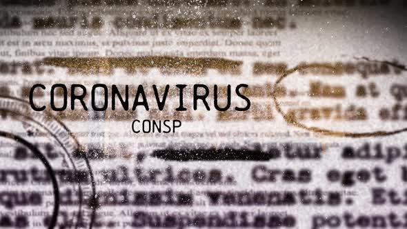 Words Coronavirus Conspiracy with newspaper pages over a cityscape