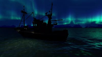 Boat And Aurora Borealis