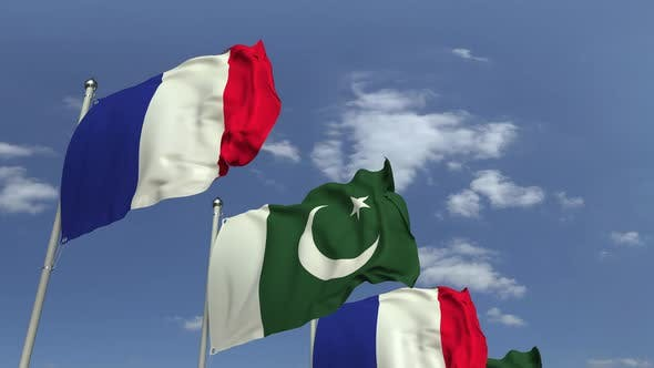 Waving Flags of Pakistan and France