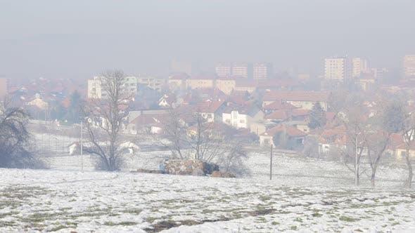 Thumbnail for Fog over town of Zajecar filmed from park hill Kraljevica 4K 3840X2160 UHD footage - Eastern  Serbia