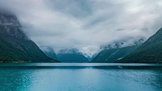 Schöne Natur Norwegen Naturlandschaft Lovatnet See Lodal Tal