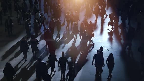 Crowd of Pedestrians Commuting in Urban Metropolis