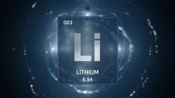 Lithium as Element 3 of the Periodic Table 3D animation on blue background