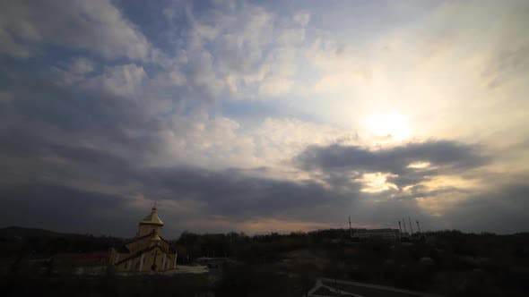 Time lapse: beautiful multicolored clouds are floating in the sky