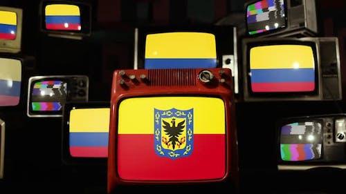 Flagge von Bogota und kolumbianische Flaggen auf Retro-Fernsehern.