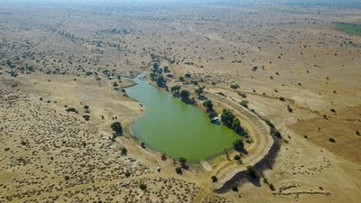 Lake in the middle of a desert. India.