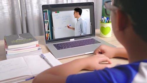 Asian Boy Learning Online