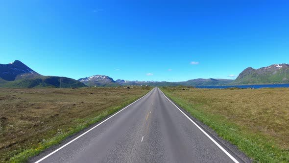Vehicle Point-of-view Driving a Car on a Road in Norway