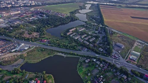 Evening Drone View of Ukrainian Area with Landscape Background