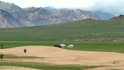 Yurts on the Mongolian Topography