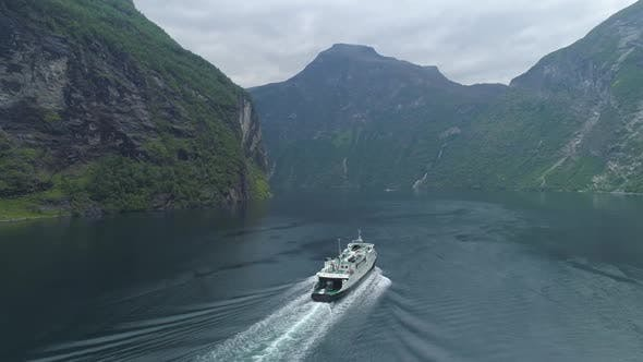 Thumbnail for Ferry in Geiranger Fjord in Summer Day