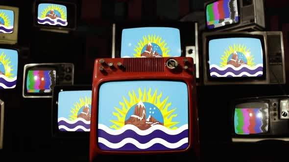Thumbnail for Flag of Santa Cruz province in Argentina and Retro TVs.