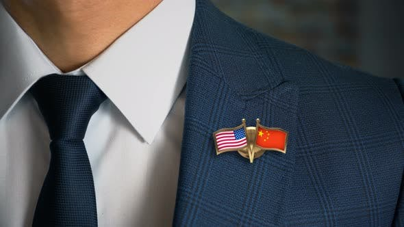 Thumbnail for Businessman Friend Flags Pin United States Of America China