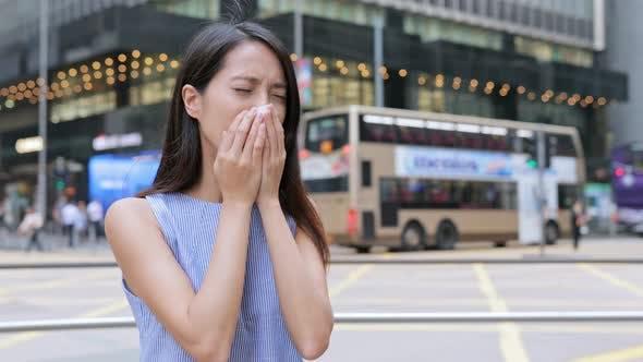Thumbnail for Woman feeling sick at outdoor of Hong Kong