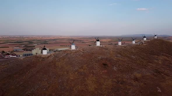 Thumbnail for Aerial View of Don Quixote Windmills. Molino Rucio Consuegra in the Center of Spain