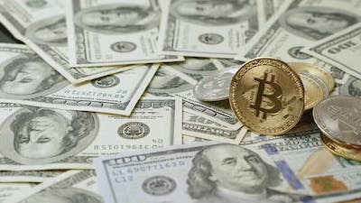 Bitcoins and dollars on table