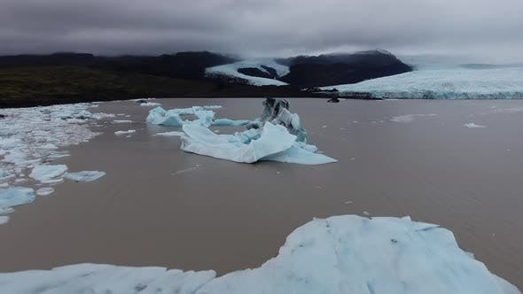 Thumbnail for Flying over a glacier lake in Iceland