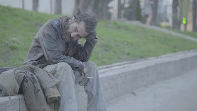 Beggar Homeless Man Tramp. Poverty. Vagrancy. Kyiv. Ukraine.