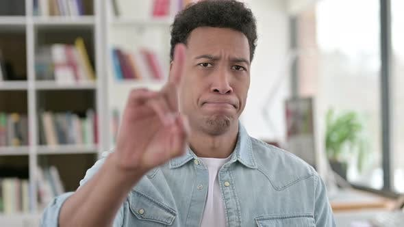 Thumbnail for No, Young African American Man Disapproving By Finger Sign
