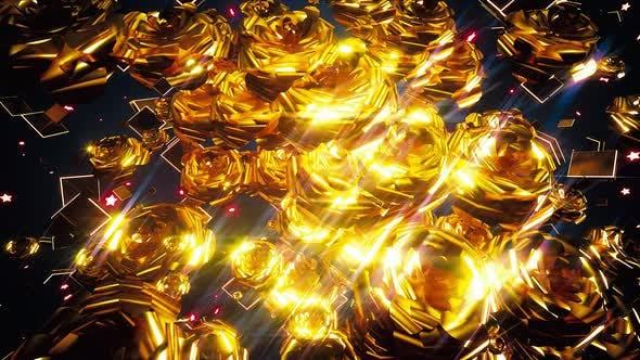 Thumbnail for Golden Flowers Background 4k