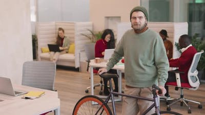 Start-Up Office Worker with Bicycle