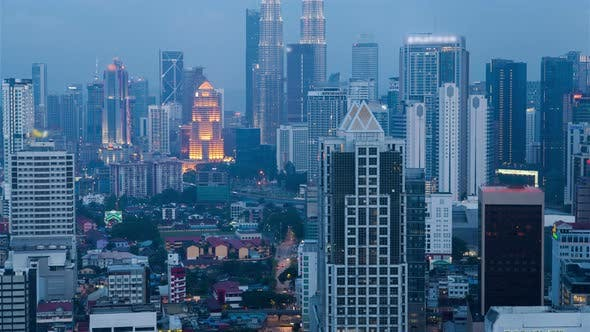 Thumbnail for Aerial View From Day To Night of Kuala Lumpur City Skyline