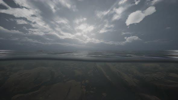 Half Water Ocean Shoot Under Water Line