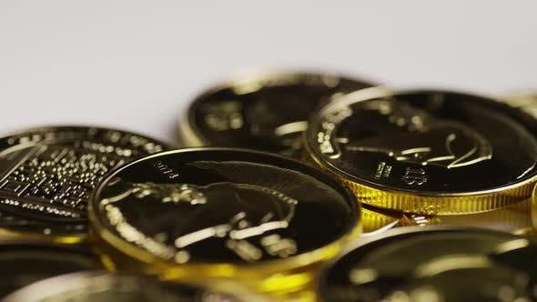 Rotating shot of Titan Bitcoins (digital cryptocurrency) - BITCOIN TITAN 152