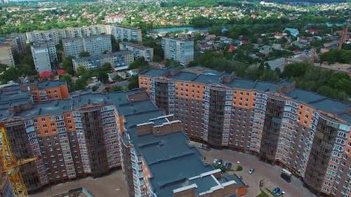 Wohngebiet Gebäude. Luftaufnahme des städtischen Wohngebiets