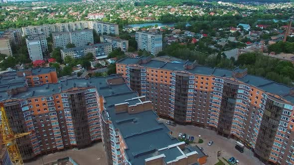 Residential area buildings. Aerial view of urban residential area