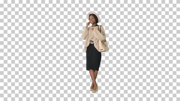 Thumbnail for Smiling african american woman in knitwear, Alpha Channel