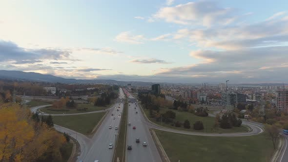 Thumbnail for Aerial View of Cars Driving on Highway and Ringroad at the City Entrance To Sofia, in Boyana
