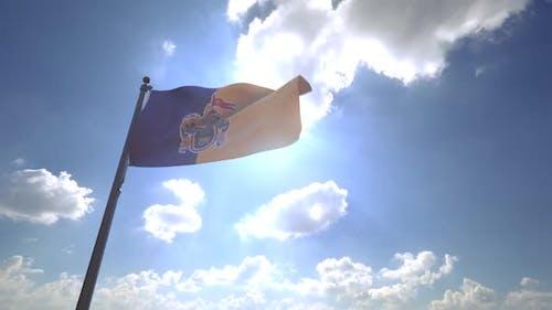 Jalisco Flag on a Flagpole V4