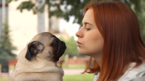 Thumbnail for Girl Trying To Kiss Her Pug and Looking at Camera